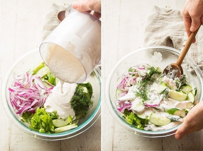 Side By Side Images Showing Two Stages of Making Creamy Cucumber Dill Salad: Pour Dressing Over Veggies and Mix