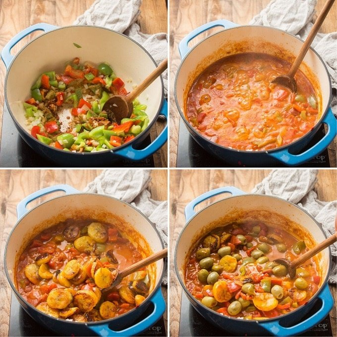 Collage Showing 4 Steps for Making Plantain Stew: Sweat Veggies, Add Liquid Ingredients and Simmer, Add Plantains, and Add Olives