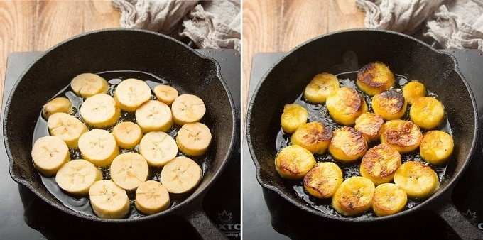 Side By Side Images Showing Two Stages of Plantain Slices Frying in a Skillet
