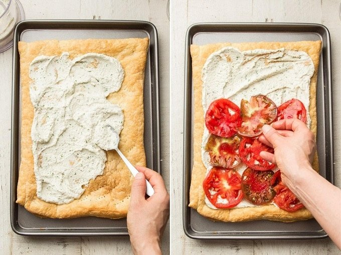 Side By Side Images Showing (1) Hand Spreading Cashew Cheese on a Puff Pastry Crust, and (2) Hand Arranging Tomato Slices Over the Cheese
