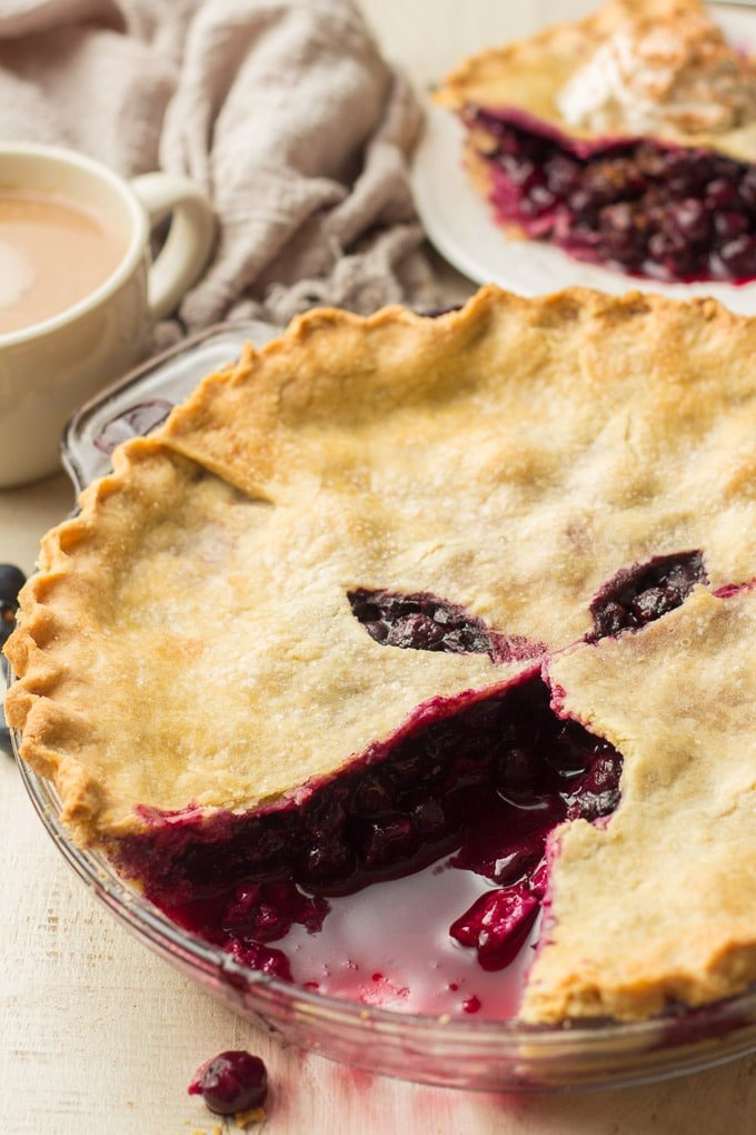 Vegan Blueberry Pie with a Slice Cut Out