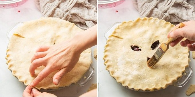 Steps 3 and 4 for Making Vegan Blueberry Pie: Seal Top and Bottom Crusts, and Brush Top Crust with Non-Dairy Milk
