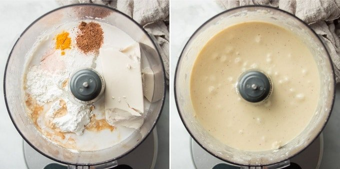 Ingredients for Vegan Custard Pie Filling in a Food Processor Bowl Before and After Blending