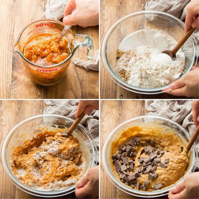 Collage Showing Steps for Making Vegan Pumpkin Bread: Mix Wet Ingredients, Mix Dry Ingredients, Stir Wet and Dry Ingredients Together, and Add Chocolate Chips