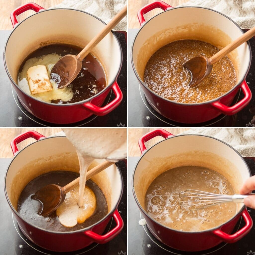 Collage Showing 4 Stages of Cooking Vegan Pecan Pie Filling: Place Ingredients in Pot, Simmer, Add Blended Ingredients, and Simmer Again