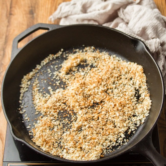 Toasted Panko Breadcrumbs in a Skillet