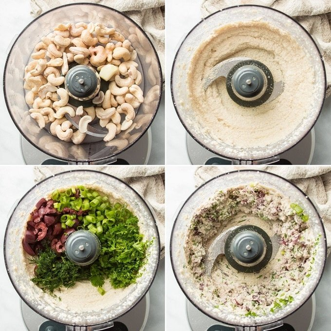 Collage Showing 4 Stages of Blending Phyllo Cigar Filling in a Food Processor: Add Raw Cashews, Blend, Add Olives & Herbs, and Blend Again