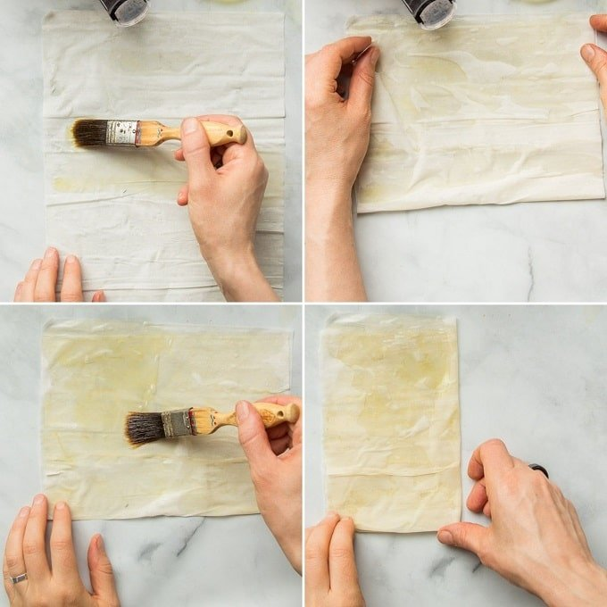 Collage Showing Steps of Folding and Brushing Phyllo with Olive Oil for Making Stuffed Cigars