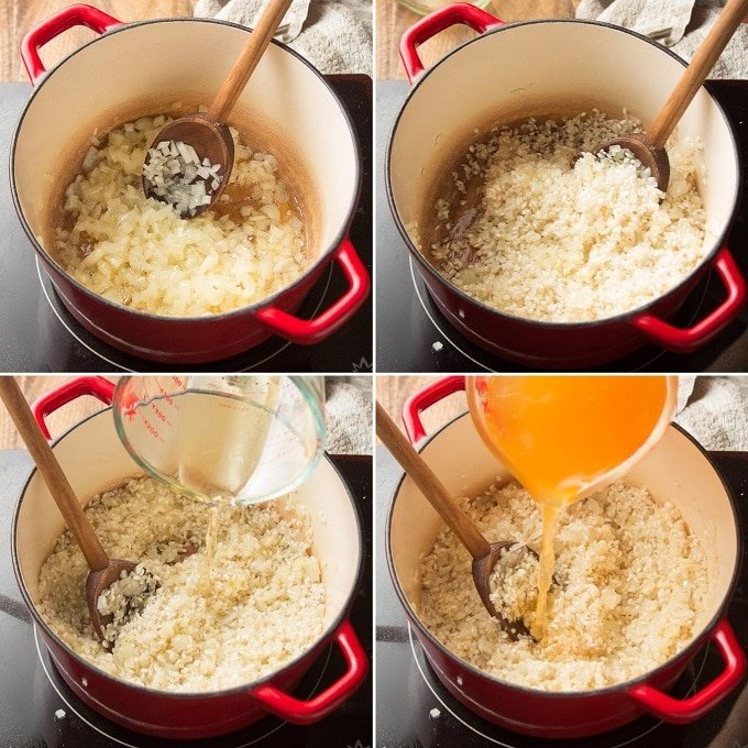 Collage Showing Steps 1-4 of Making Vegan Broccoli Cheese Risotto: Sweat Onion in Butter, Add Rice, Add Wine and Add Broth