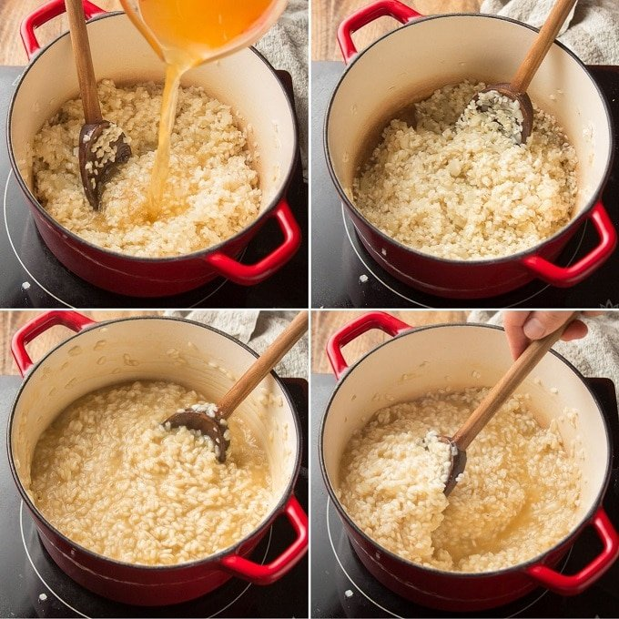 Collage Showing 4 Stages of Vegan Broccoli Cheese Risotto Simmering in a Pot