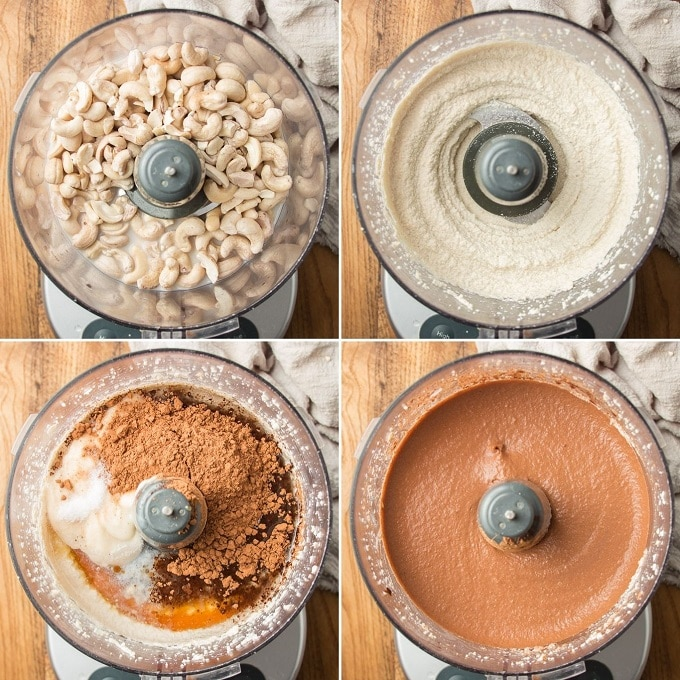 Collage Showing Four Stages of Blending Vegan Chocolate Cheesecake Batter in a Food Processor Bowl
