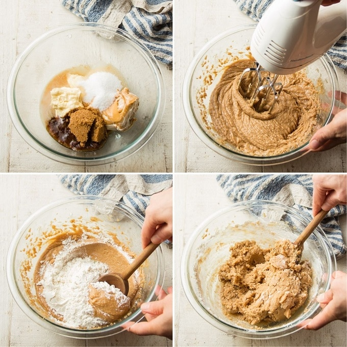 Collage Showing Steps for Making Vegan Peanut Butter Cookie Dough: Add Liquid Ingredients and Sugars to a Bowl, Beat with Mixer, and Stir in Dry Ingredients in Stages