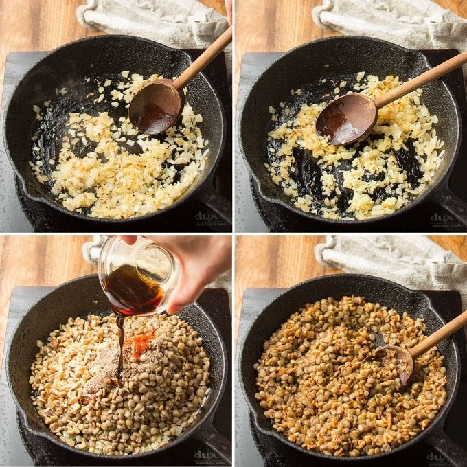 Collage Showing Steps for Making Vegan Sausage Roll Filling: Cook Onion, Add Garlic, Add Lentils and Seasonings, and Simmer Briefly