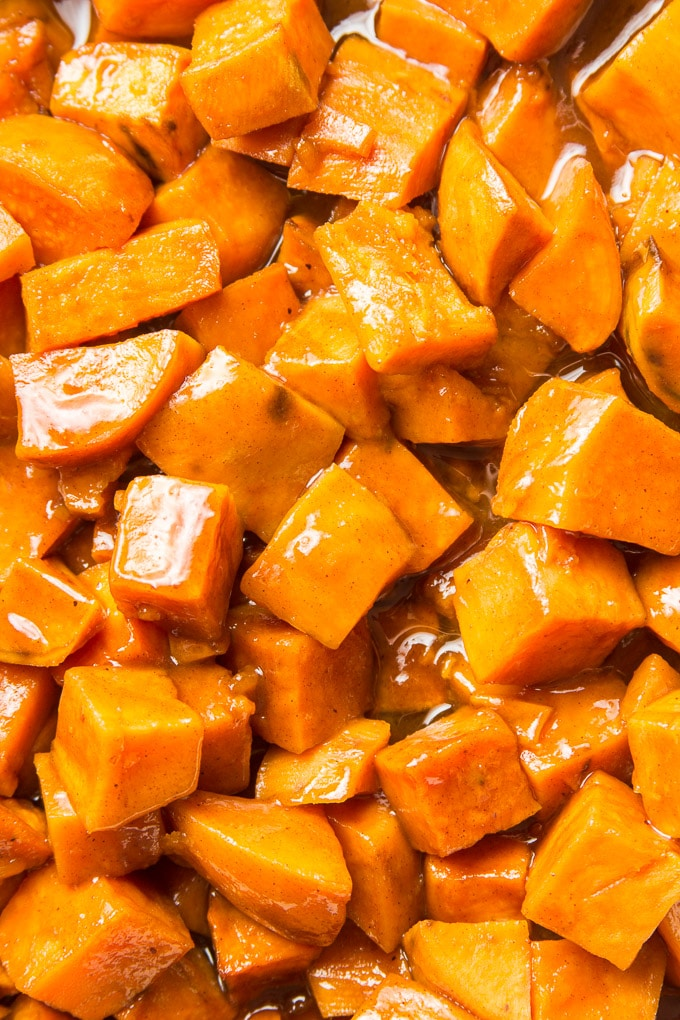 Close Up of Vegan Candied Yams