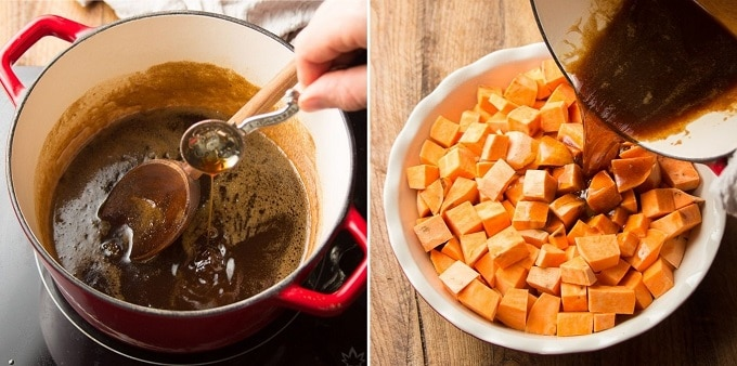 Two Images Showing Final Steps for Making Vegan Candied Yams: Add Vanilla and Pour Mixture Over Sweet Potatoes