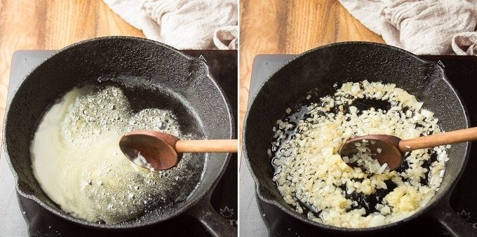 Side By Side Images Showing First Steps for Making Vegan Creamed Spinach: Melt Butter and Sweat Onion