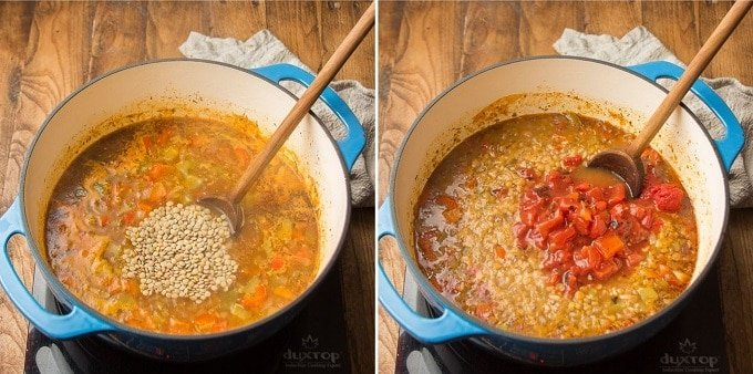 Two Images Showing Final Steps for Making Vegan Stuffed Pepper Soup: Add Lentils and Add Tomatoes