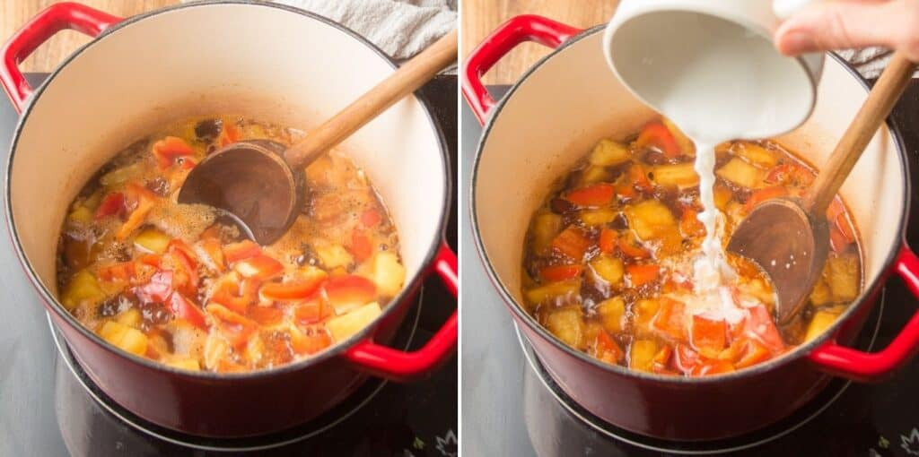 Two Images Showing Steps for Preparing Sweet & Sour Tofu Sauce: Simmer and Add Cornstarch Slurry