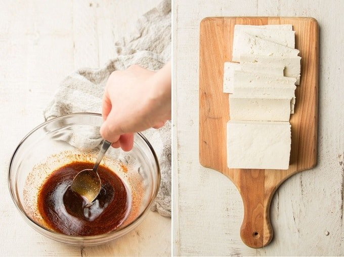 Two Images Showing: Hand Mixing Marinade in a Bowl, and Block of Sliced Tofu on a Cutting Board