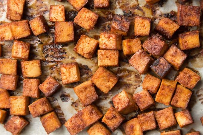 Tofu Bacon Cubes on Parchment Paper
