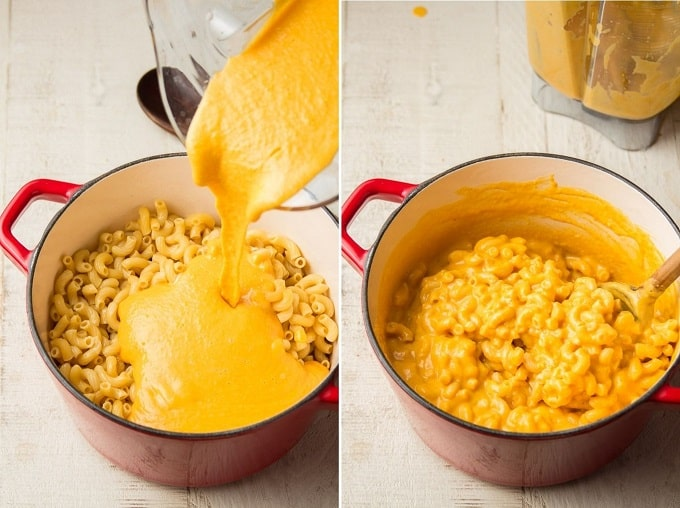 Two Images Showing (1) Butternut Squash Sauce Being Poured into a Pot of Macaroni, and (2) Sauce Being Stirred into Macaroni
