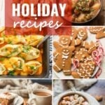 "Collage Showing Images of Food with Text Overlay Reading ""Vegan Holiday Recipes"""