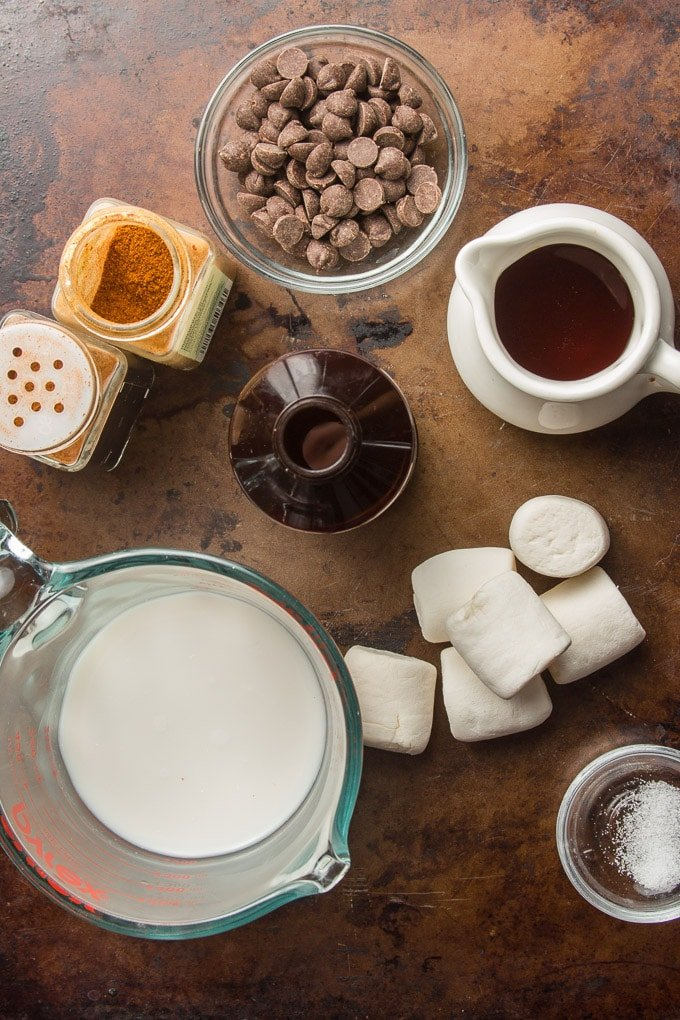 Ingredients for Making Vegan Hot Chocolate Arranged on a Distressed Surface