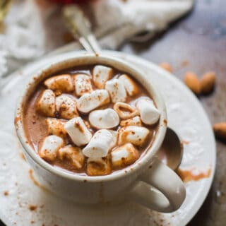 Cup of Vegan Hot Chocolate with Marshmallows on Top