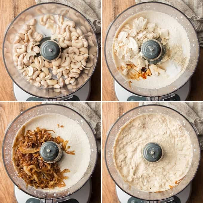 Collage Showing Four Stages of Blending Ingredients for Vegan French Onion Dip