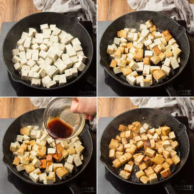 Collage Showing Four Stages of Tofu Cooking in a Skillet