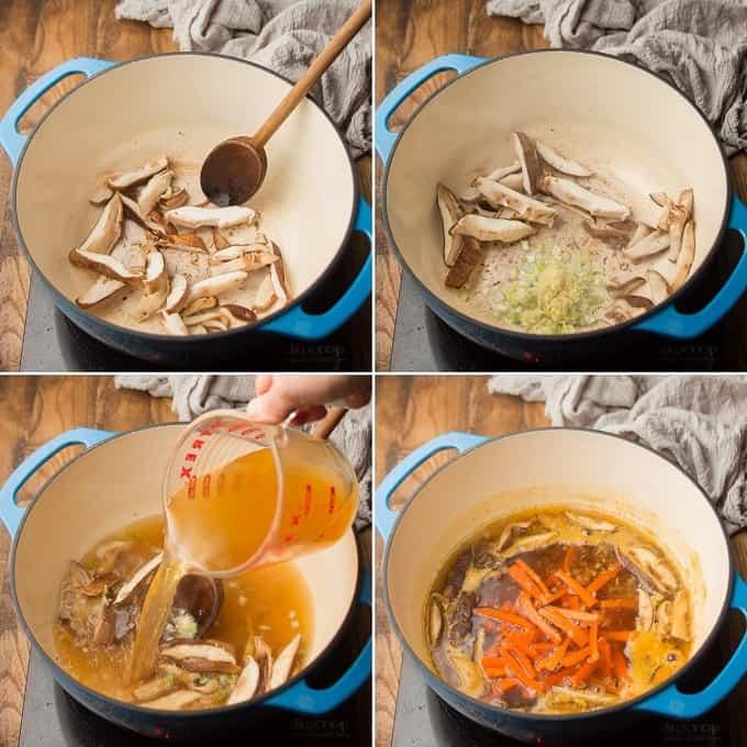 Collage Showing Four Steps for Making Vegan Ramen Soup Base