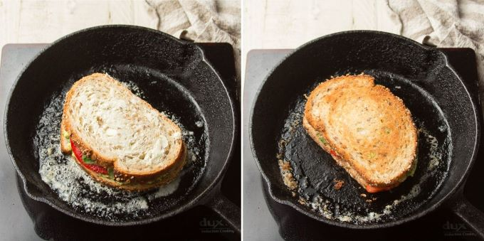 Two Stages of a Grilled Avocado Sandwich Cooking in a Skillet