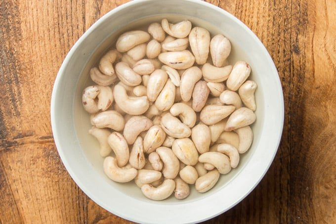 Bowl Filled with Cashews Soaking in Water