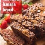 "Sliced Loaf of Vegan Chocolate Banana Bread with Text Overlay Reading ""Vegan Chocolate Banana Bread"""