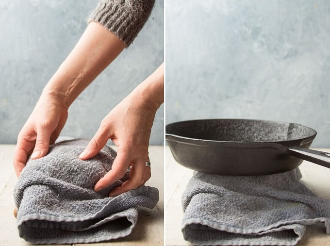 Two Images Showing Steps for Pressing Tofu With Objects: Wrap in Towel and Place Skillet on Top