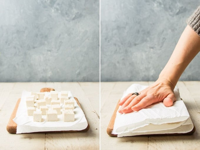 Two Images Showing Steps for Pressing Tofu By Dicing and Blotting with Paper Towel