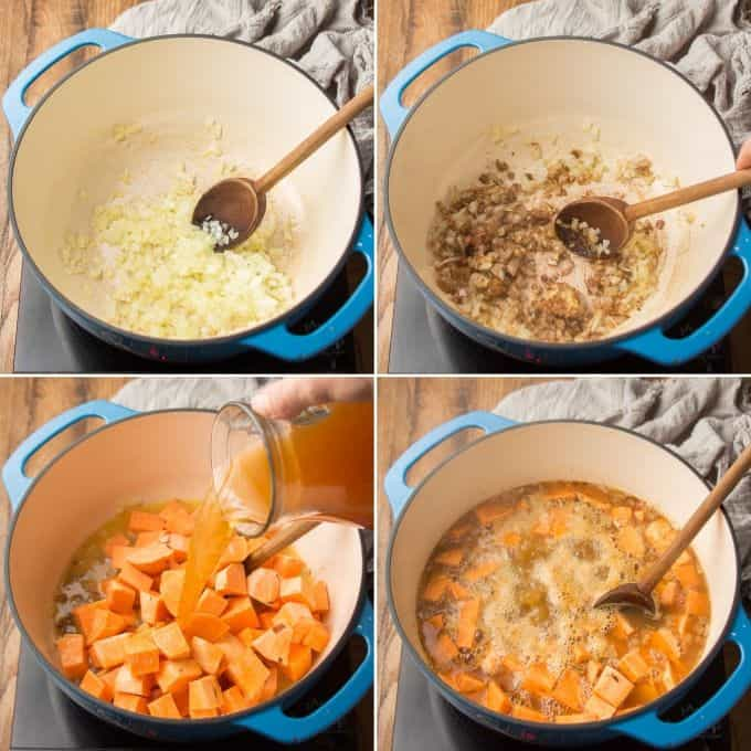 Collage Showing First Four Steps for Making Sweet Potato Soup: Sweat Onions, Add Aromatics, Add Sweet Potaotes and Broth, and Simmer