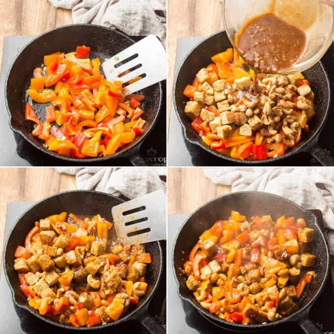 Collage Showing Steps for Making Tempeh Stir-Fry: Stir-Fry Peppers, Add Tempeh, Cashews and Sauce, Toss, and Simmer