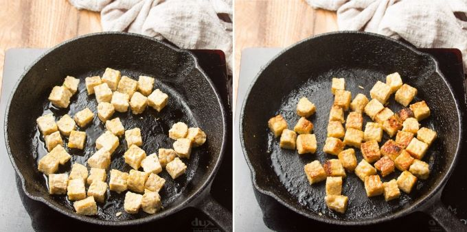 Images Showing Two Stages of Tempeh Cooking in a Skillet