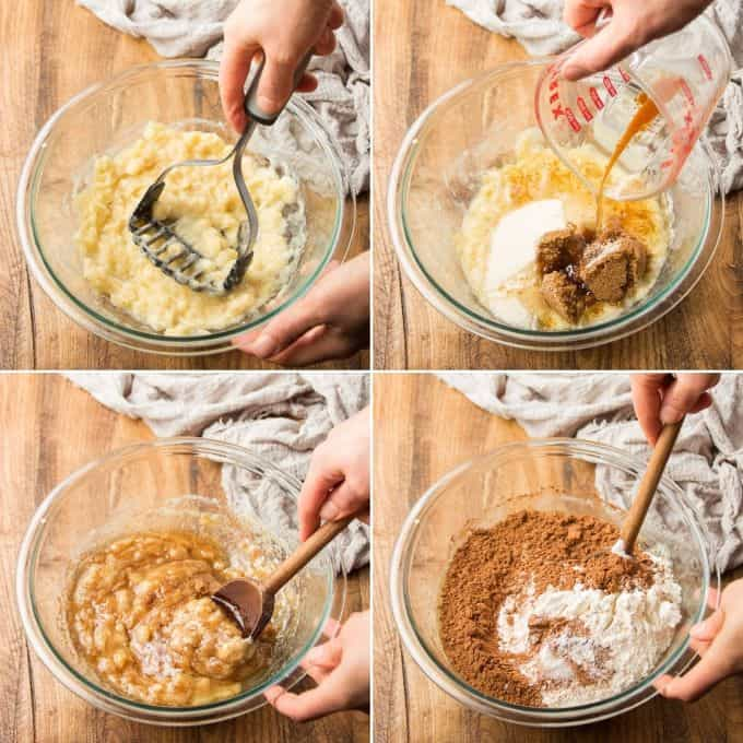Collage Showing First 4 Steps for Making Vegan Chocolate Banana Bread: Mash Bananas, Add Sugars and Oil, Stir, and Add Dry Ingredients
