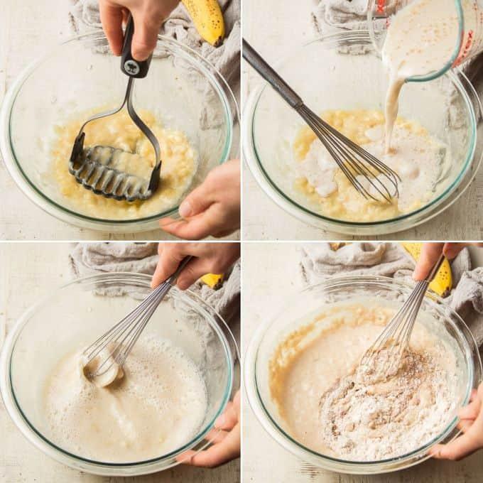 Collage Showing Steps for Making Vegan Banana Pancake Batter