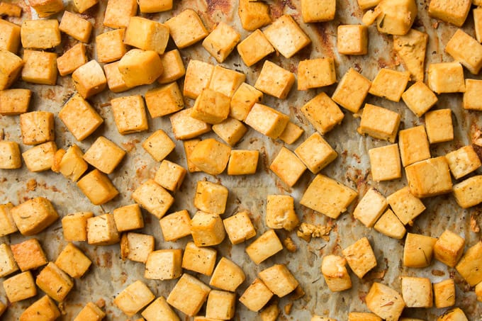 Baked Tofu on Parchment Paper