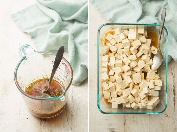 Two Images Showing Steps for Making Marinated Tofu: Mix Marinade, and Soak Tofu in a Dish