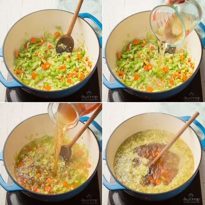 Collage Showing Steps for Making Vegan Chicken Noodle Soup: Sweat Veggies, Add Wine, Add Broth, and Simmer