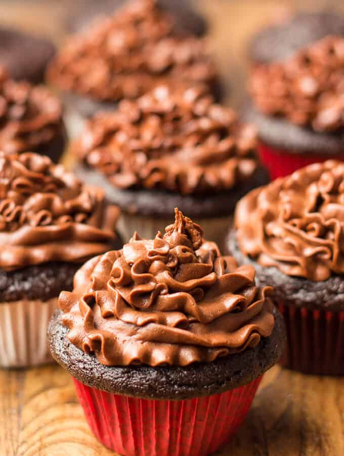Many Vegan Chocolate Cupcakes with Chocolate Frosting on Top