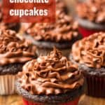 "Vegan Chocolate Cupcakes Topped with Chocolate Frosting, with Text Overlay Reading ""Vegan Chocolate Cupcakes"""