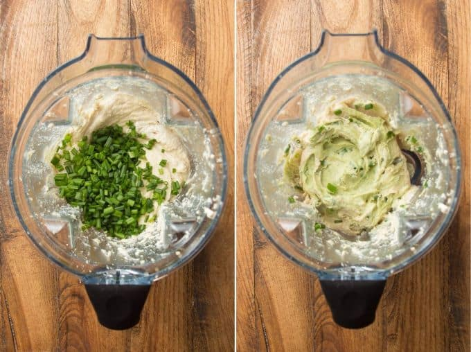 Collage Showing Blender Filled with Vegan Cream Cheese and Chives, Before and After Blending