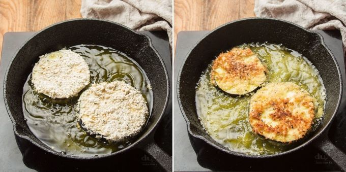 Two Stages of Eggplant Frying in a Skillet