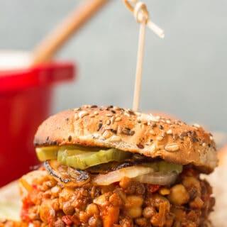 Close Up of a Vegan Sloppy Joe Sandwich