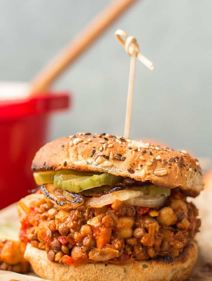 Close Up of a Vegan Sloppy Joe Sandwich